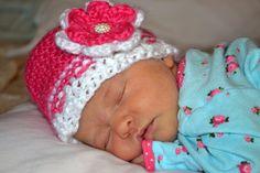 Baby Girl Crochet Hat Newborn Crochet Hat by crochethatsbyjoyce (idea only)