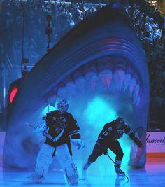 Antti Niemi (Finland's Olympic goalie) and Joe Thornton, SJ Sharks, enter the Shark Tank..