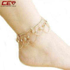 Brand Tassel Anklet 2015 New Ankle Bracelet Pulseras Tobilleras Gold Anklets For Women Summer Fine Jewelry Barefoot Sandals CEV-in Anklets from Jewelry on Aliexpress.com | Alibaba Group