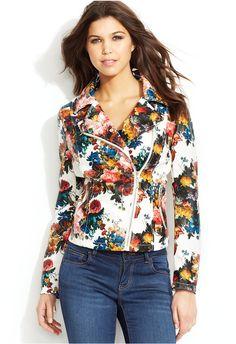 Floral-Print Faux-Leather Moto Jacket   Jou Jou- Reg $99.56/ NOW $64.82
