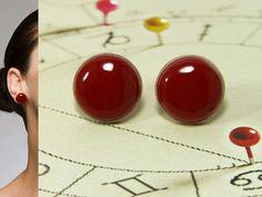 Deep Red Stud Earrings