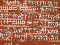 Extraordinary Tribal wall painting , to see this WARLI ART visit odissa Indian Folk Art, India Art, Floor Art, Mirror Work, Tribal Jewelry, Tribal Art, Art Forms, Body Art, Mosaic