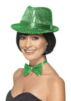 Fancy Dress Women's Fancy Dress Sequin Green Trilby Hat & Bow Tie Dance Show Hen Night Fun Fancy Dress Hats, Fancy Dress Accessories, Costume Hats, Costumes, Costume Ideas, Trilby Hat, Halloween Costume Accessories, Matcha, Sequins