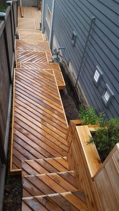 This unique deck lighting is certainly a remarkable design alternative. Rooftop Design, Deck Design, Landscape Design, Garden Design, Balcony Deck, Patio Roof, Outdoor Stairs, Deck Stairs, Home Stairs Design