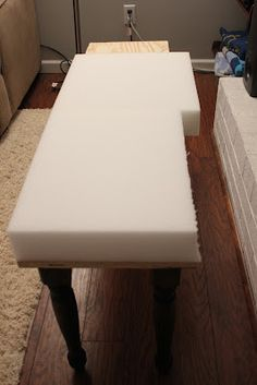 DIY bench! Just fyi, foam is pretty expensive! Make sure you have a coupon or wait until joanns has a 50% off sale!