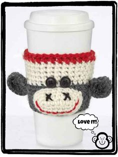 Monkey Cup Cozy tutorial   Jo-Ann Fabric and Craft Stores  [i'm not big on sock monkeys - but this seemed practical and just too cute to resist!]