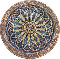 Stone Tile Mural Medallion - Cala Mosaic