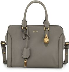 Alexander McQueen Small Skull Padlock Leather Satchel, Dark Gray