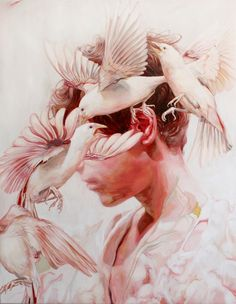 """""""Fever Dream"""" by Meghan Howland. Oil on linen. The reason why I chose this piece is because I like the idea of incorporating animals and feathers into pieces. It gives them a wilder and untamed feeling."""