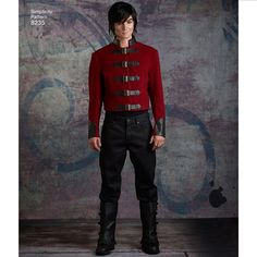 Simplicity Pattern 8235 Men's Cosplay Costume Pattern Assassins Creed Costume, Cosplay Characters, Male Cosplay, Costume Patterns, Contrast Collar, Simplicity Sewing Patterns, Collars, Leather Pants, Costumes