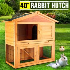 Wooden Rabbit Hutch Chicken Coop Cage Hen House Pet Poultry Animal Backyard for sale online Rabbit Life, House Rabbit, Hen House, Pet Rabbit, Pet Grass, Metal Chicken, Bunny Cages, Wooden Rabbit, Chicken Coop Plans