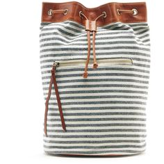 Sole Society Maisee Fabric Backpack ($65) ❤ liked on Polyvore featuring bags, backpacks, white drawstring backpack, drawstring backpacks, faux leather backpack, vegan leather backpack and striped backpack