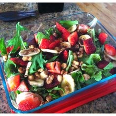 Fresh strawberries, spinach, banana chips, honey glazed walnuts, & balsamic vinegar dressing. My salad for lunch today. #fatgirlrpobz
