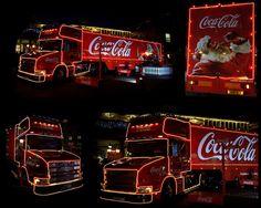 Christmas Lights For Car. Coca Cola Santa, Coca Cola Christmas, Red Christmas, Christmas Lights, Coca Cola Poster, London Night, Coke, Light In The Dark, Branding