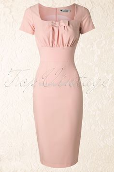 2014 summer women vintage 50s pinup retro pink neck with bow mid pencil formal work wear office ladies plus size bodycon dresses-in Dresses from Women's Clothing & Accessories on Aliexpress.com | Alibaba Group
