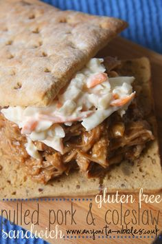 Gluten Free Pulled pork and Coleslaw Sandwich Coleslaw Sandwich, Pork Sandwich, Gluten Free Buns, Best Gluten Free Recipes, Slow Cooker Recipes, Cooking Recipes, Cooking Stuff, Pork Recipes