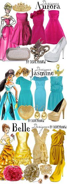 Aurora, Jasmine and Belle - DisneyBound