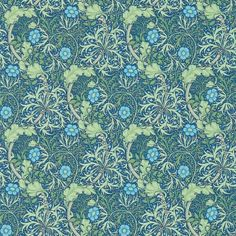 Morris Seaweed (214713) - Morris Wallpapers - New colourways of this popular early 20th century design, with a free flowing highly decorative pattern, incorporating seaweed and flowers. Shown in the cobalt blue and thym green colourway. Please request sample for true colour match.