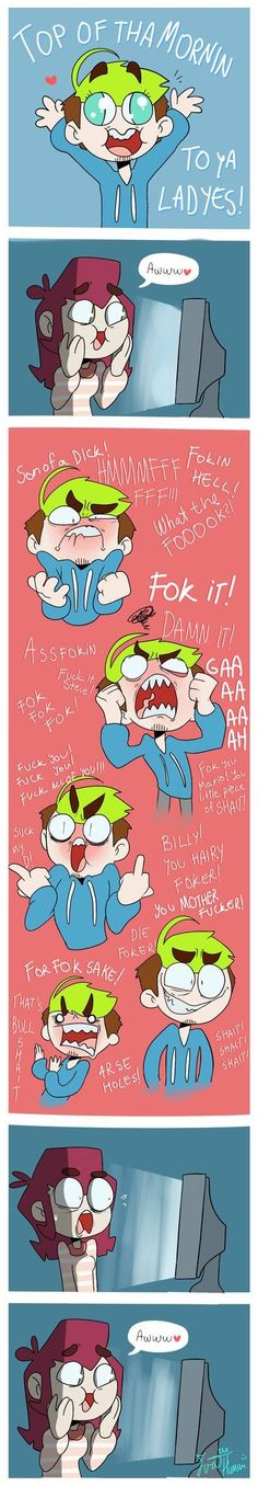 """When you start watching Jacksepticeye xD by IvaTheHuman on DeviantArt.""""This is too hilarious not to pin. I don't think his cussing is cute, but I do dismiss it because I really like him and his videos. Pewdiepie, Jacksepticeye Memes, Jacksepticeye Happy Wheels, Markiplier Hair, Caspar Lee, Joe Sugg, Youtube Gamer, To Youtube, The Blue Boy"""