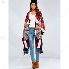 Autumn Geometry Pattern Tassel Edge Cashmere Cape ($42) ❤ liked on Polyvore featuring outerwear, cape coat and cashmere capes