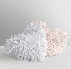 Washed Appliquéd Fleur Heart Decorative Pillow