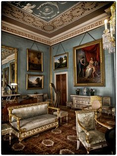 Attingham Park, Shropshire, England by PhilnCaz. ~A Taste of Elegance~ English Interior, Antique Interior, Classic Interior, Blue Drawings, English Manor Houses, English House, Georgian Interiors, Marquise, Drawing Room