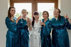 "The Little Lovebird on Instagram: ""Bride and her bridal squad wearing the teal robes 💗 The Little Lovebird"""