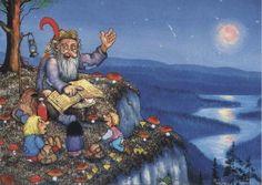 Rolf Lidberg Baumgarten, Nature Spirits, Good Night Moon, Scandinavian Art, Christmas Gnome, Conte, Faeries, Adult Coloring, Graphic Illustration