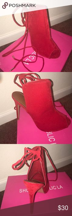 Sexy Red Strap-Up Peep Toe Heel Size 10; suede red; tie-up; DOES RUN SMALL  shoe republic la Shoes Ankle Boots & Booties