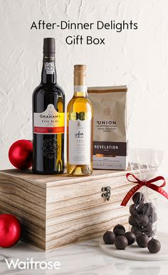 Spoil a loved one this christmas with award winning waitrose finish off your christmas dinner right with this delightful box filled with port coffee wine and chocolates for more delicious hampers see the waitrose solutioingenieria Image collections