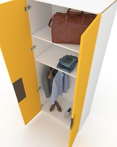 Two-door yellow lacquered ARIES wardrobe with Coffee handle A two-door wardrobe for use in all interior spaces. The innovative compound carved handle with high quality lacquer spreads a sense of refinement and luxury in the space.