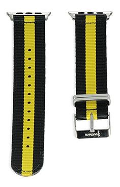 Apple Watch NATO Band - Black & Yellow Woven Nylon Band (38mm Black). The original NATO strap designed for your smartwatch: Apple Watch, Android Wear & Pebble. Woven, double layered and heat sealed ballistic nylon - it comes with a Lifetime Warranty. Patent Pending design using quick-release pins.
