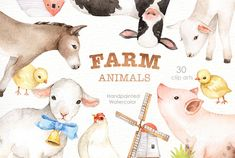 Ad: Farm Animals Watercolor clipart by everysunsun on The set of high quality hand painted watercolor farms animals and elements. A pig, sheep, goat, chicken, cow and other animal illustrations Watercolor Leaf, Animals Watercolor, Watercolor Clipart, Watercolor Background, Art Clipart, Plants Watercolor, Business Illustration, Pencil Illustration, Graphic Illustration