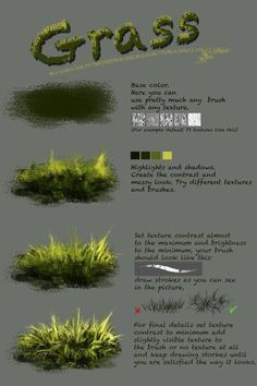 Difference between texture and plain brushnthartyfievi deviantart com ar More tutorials are coming soon grass trees water ice Digital Painting Tutorials, Digital Art Tutorial, Art Tutorials, Concept Art Tutorial, Drawing Tutorials, Deviantart, Painting & Drawing, Painting Grass, Painting Clouds
