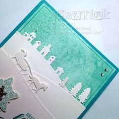 closeup of handmade card with Salt Staining Background and three layers wth the Stampin Up Sleigh Ride Edgelits ....