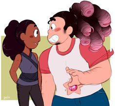 "What connie thinks- *Steven looks fricking ridiculous in that Rose cosplay please let this be a phase* What she says- ""Steven how cute!"""