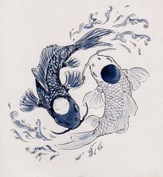 Koi fish yin yang - tattoo design