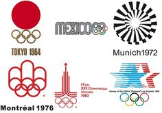 olympic logo set 2  1964 Tokyo, 1968 Mexico, 1972 Munich, 1976 Montreal, 1980 Moscow, 1984 Los Angeles