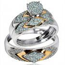 14K White Gold Trio Rings His/Her Rings 0.4cttw Diamonds Two Tone Wedding-ring-sets