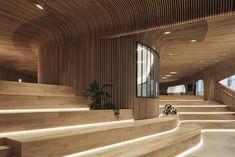 Suzhou Cangjie Retail Village   Woods Bagot Timber Battens, Wood Cladding, Exterior Cladding, Timber Ceiling, Showroom Design, Interior Design, The Design Files, Brand Building, Building Materials