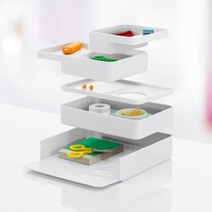 Formwork: stackable collection of desk accessories with modular components / Sam Hecht and Kim Colin of Industrial Facility for Herman Miller Desktop Storage, Desktop Organization, Wall Storage, Office Organization, Organizing, Id Design, Design Trends, Foyer Design, Design Ideas