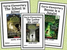 Eerie Elementary BUNDLE (Jack Chabert) 3 Novel Studies : Books #1-3 (88 pages) * Follows the Common Core Standards *  This Eerie Elementary BUNDLE contains 3 Novel Studies from the Eerie Elementary book series by Jack Chabert. In total, there are 88 pages. Each Novel Study is in booklet-style format.  This download includes 3 Novel Studies for the first 3 books in the Eerie Elementary book series by Jack Chabert: Eerie Elementary #1: The School is Alive! Eerie Elementary #2: The Locker Ate…