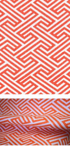 """Tonic Living,Geo Maze, Coral,100% Linen,Retro futon covers, retro fabric and pillows  """"Geo Maze, Coral"""" 54"""" wide 100% Linen  A classic-modern, geometric key or maze print in lava coral-orange on white. Made of 100% linen.  Pattern repeat is 3"""" x 3"""".  Perfect for drapery, roman shades, pillows, cushions and upholstery. Weighs 10 ounces or 300 grams per linear yard. Manufacturer recommends dry cleaning only. $29.95 USD per yard (Shop in Canadian Dollars)"""