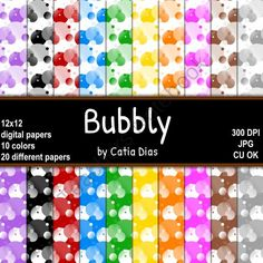 Bubbly - 20 Digital Papers from Always a Teacher & Forever a Mom - Clipart on TeachersNotebook.com (20 pages)
