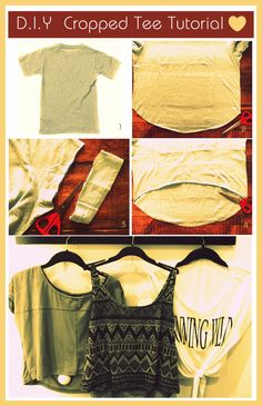 DIY Cropped tee. Perfect way to refashion old shirts!