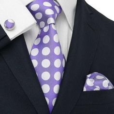 Purple and White Polka Dot Necktie Set JPM33V