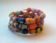 ♯‡ #Bright #Micro Paper Bead #Wrap Finger Ring  -- Size 5 by CurbedEarth #handmade http://etsy.me/2fKTdXp