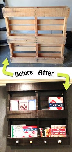 Wood pallet makeover. This is one of the best I've seen! What a great way to create storage in a small space.