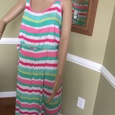 Did someone say summer Gorgeous dress side slit on one side to knee  elastic waist with tie belt roll  it up for any summer travel bright colors Vineyard Vines Dresses Maxi