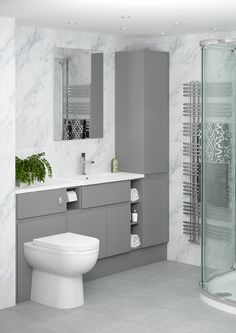 Minimalist has never looked so good as it does combined with our Grip Dust Grey bathroom furniture. The modern style of the Grip handle matches the contemporary colour perfectly. Simple Bathroom Designs, Bathroom Tile Designs, Bathroom Design Luxury, Modern Bathroom Decor, Contemporary Grey Bathrooms, Fitted Bathroom Furniture, Bathroom Shelves For Towels, Bathroom Showrooms, Bathroom Inspiration